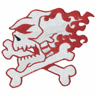 Flaming Skull Embroidered Shirt