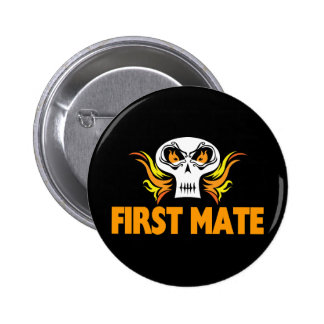 Flaming Skull First Mate Pinback Buttons