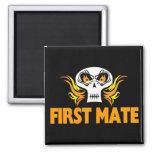 Flaming Skull First Mate Fridge Magnet