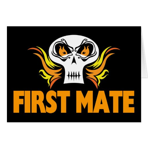 Flaming Skull First Mate Greeting Card