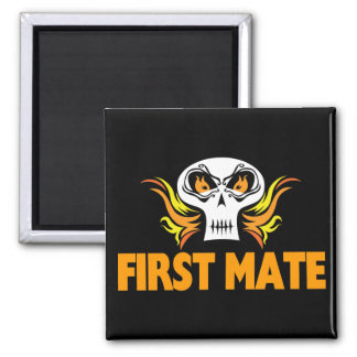 Flaming Skull First Mate 2 Inch Square Magnet