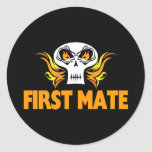 Flaming Skull First Mate Round Stickers