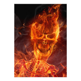 Flaming Skull Halloween Invite With Bloody Text