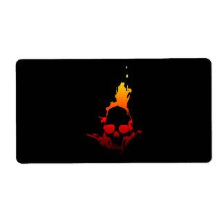 Flaming Skull Label