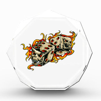 Flaming Skull Lucky Dice Acrylic Award