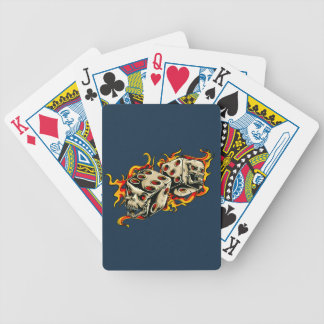 Flaming Skull Lucky Dice Bicycle Playing Cards