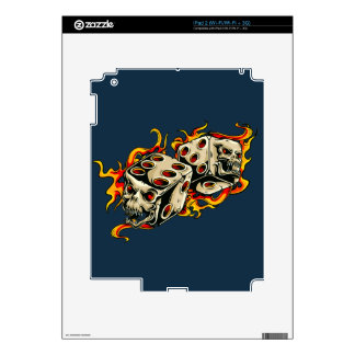 Flaming Skull Lucky Dice Decal For iPad 2