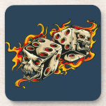 Flaming Skull Lucky Dice. Drink Coaster
