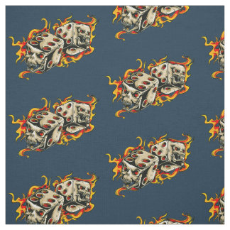 Flaming Skull Lucky Dice Fabric