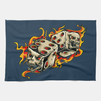 Flaming Skull Lucky Dice Kitchen Towel