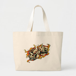 Flaming Skull Lucky Dice Large Tote Bag
