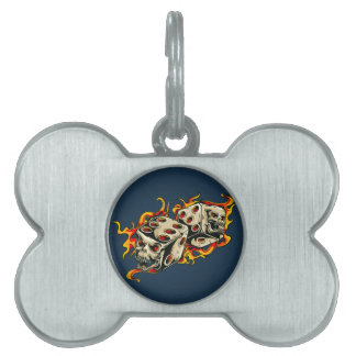 Flaming Skull Lucky Dice Pet ID Tag