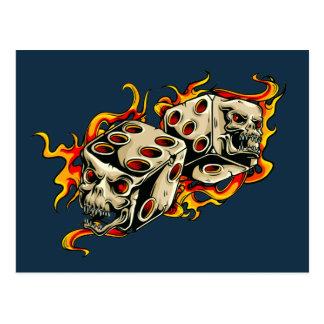 Flaming Skull Lucky Dice. Postcard