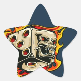 Flaming Skull Lucky Dice. Star Sticker