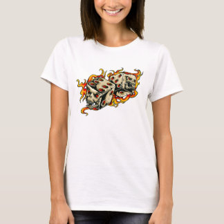 Flaming Skull Lucky Dice T-Shirt