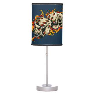 Flaming Skull Lucky Dice. Table Lamp