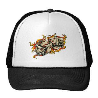 Flaming Skull Lucky Dice Trucker Hat