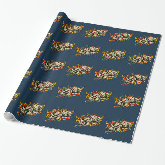 Flaming Skull Lucky Dice. Wrapping Paper
