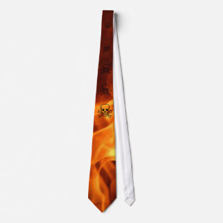 Flaming Skull Neck Tie