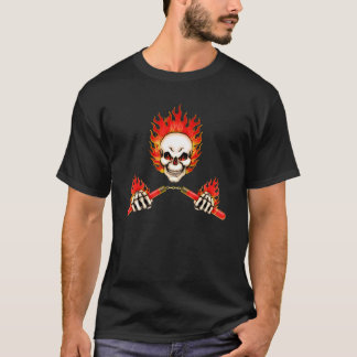 Flaming Skull Nunchucks T-Shirt