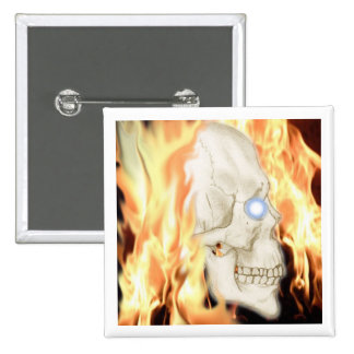 Flaming Skull of Doom! badge Pinback Button