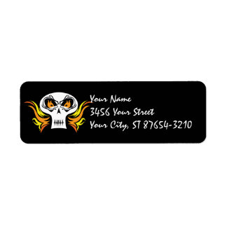 Flaming Skull Pirate Label