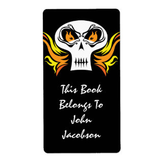 Flaming Skull Pirate Label Personalized Shipping Label