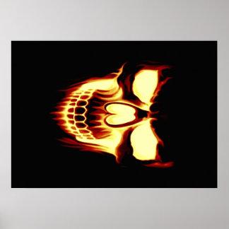 Flaming skull posters
