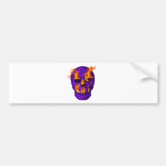 Flaming Skull purple Bumper Sticker