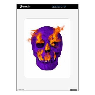 Flaming Skull purple iPad Skin