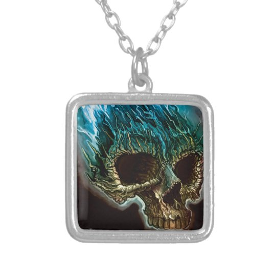 Flaming Skull Silver Plated Necklace
