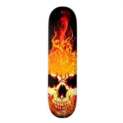 Flaming Skull Skateboard