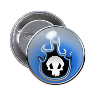 Flaming Skull Steel Bubble Button