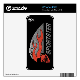 Flaming Skull Tank Decals For iPhone 4S