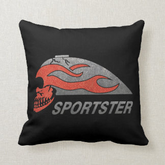 Flaming Skull Tank Throw Pillows