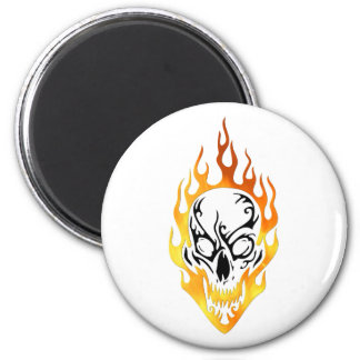 Flaming Skull Tattoo 2 Inch Round Magnet