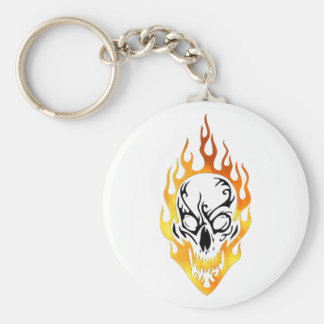 Flaming Skull Tattoo Basic Round Button Keychain