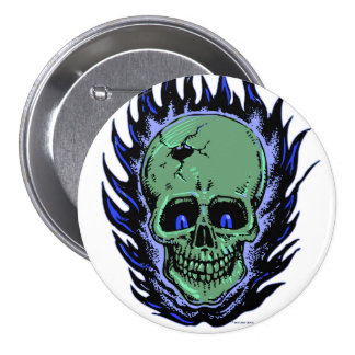 Flaming Skull Tattoo Pin