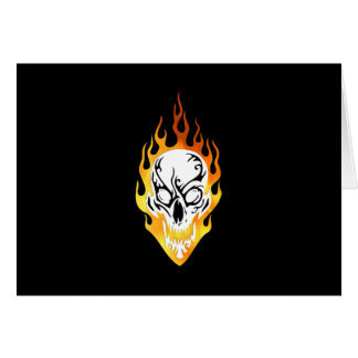 Flaming Skull Tattoo Card