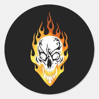 Flaming Skull Tattoo Classic Round Sticker