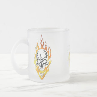 Flaming Skull Tattoo Frosted Glass Coffee Mug
