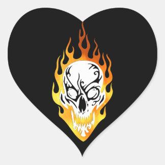 Flaming Skull Tattoo Heart Sticker
