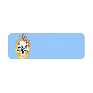 Flaming Skull Tattoo Label