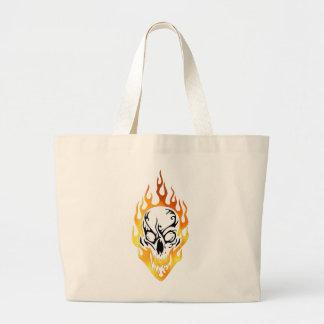 Flaming Skull Tattoo Large Tote Bag