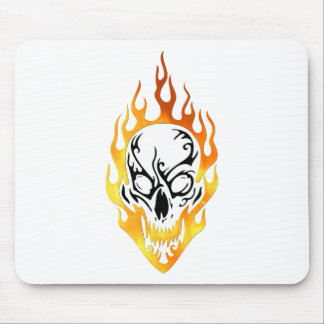 Flaming Skull Tattoo Mouse Pad