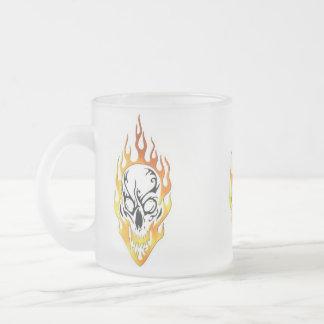 Flaming Skull Tattoo 10 Oz Frosted Glass Coffee Mug