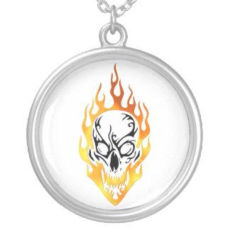 Flaming Skull Tattoo Custom Necklace