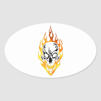 Flaming Skull Tattoo Oval Sticker
