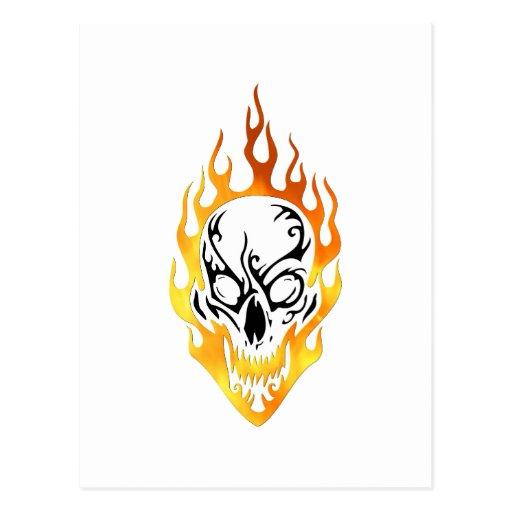 Flaming Skull Tattoo Post Card