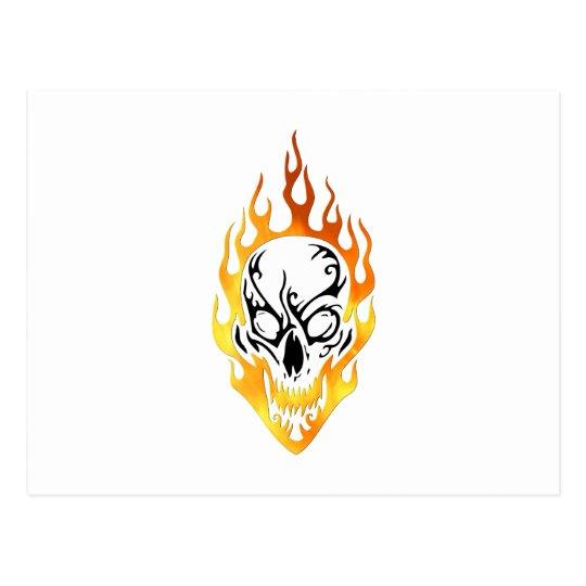 Flaming Skull Tattoo Postcard